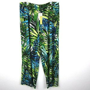 Melissa Paige Wide Leg Pants 2X Tropical Print NEW